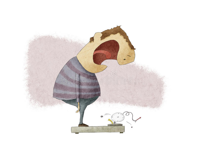 Ruptura do homem uma escala do peso ilustração stock