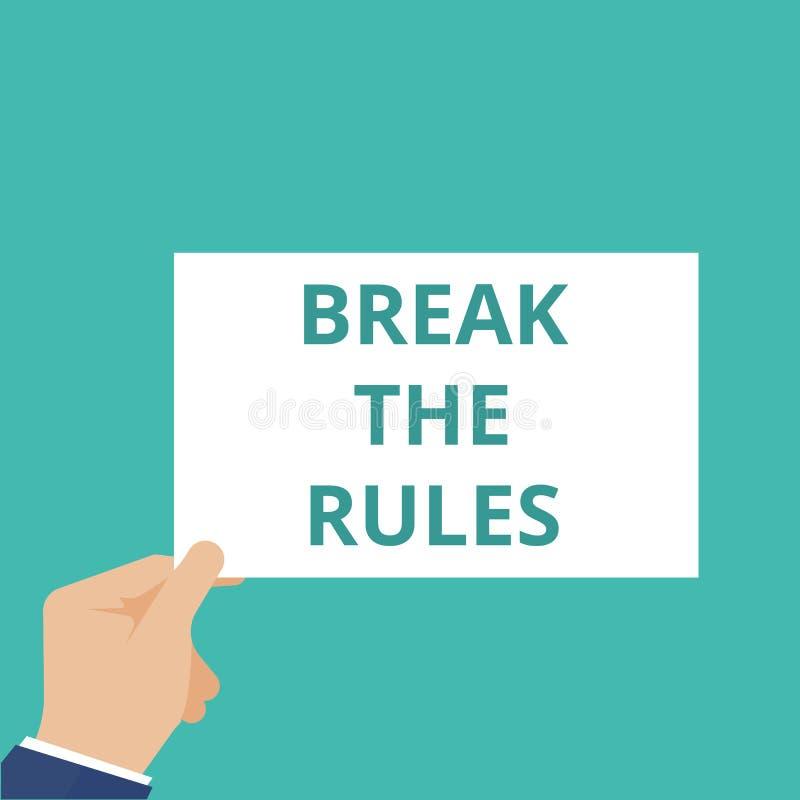 Ruptura do texto da escrita da palavra as regras ilustração stock