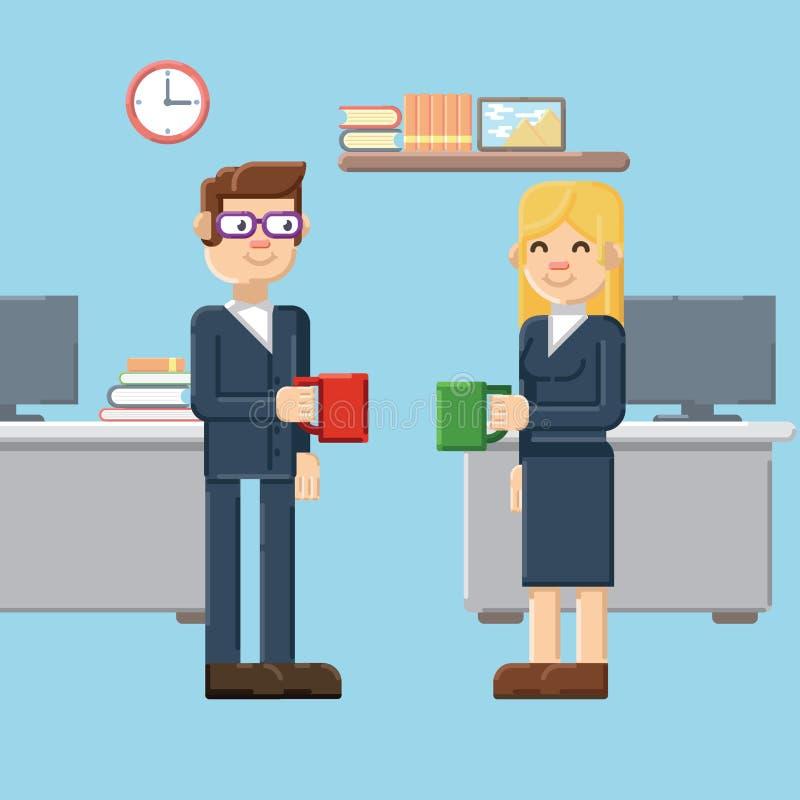 Ruptura, homem e caráteres fêmeas no escritório ilustração royalty free