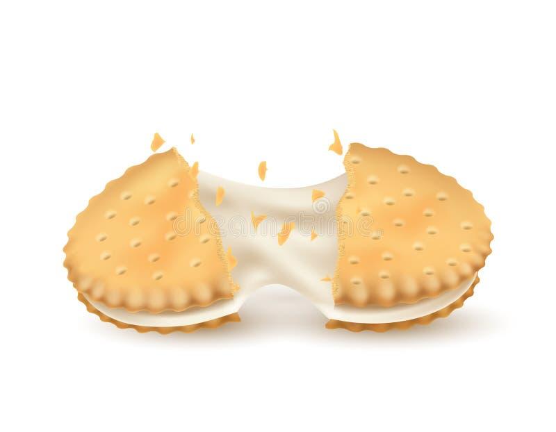 Rupturas da cookie do sandu?che ao meio ilustração do vetor