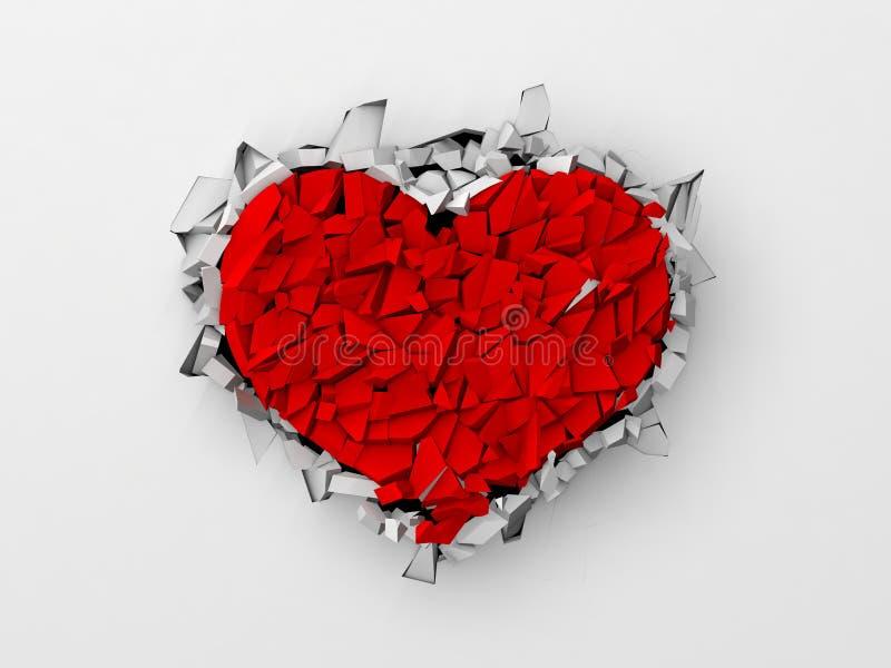 Rupturas dadas forma coração na parede branca ilustração stock