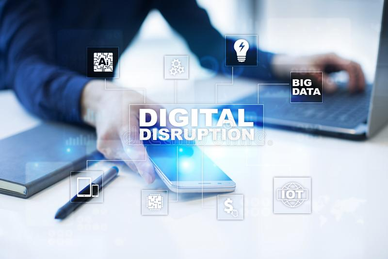 Rupture de Digital, futur concept de technologie sur l'écran virtuel images libres de droits