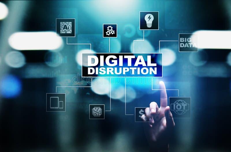 Rupture de Digital Idées disruptives d'affaires IOT, réseau, ville futée, grandes données, nuage, analytics, service informatique images stock
