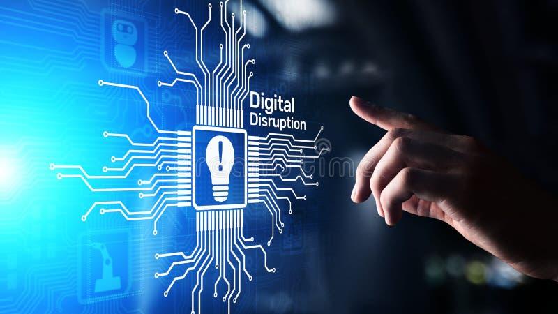 Rupture de Digital Id?es disruptives d'affaires IOT, r?seau, ville fut?e, grandes donn?es, nuage, analytics, service informatique photo stock