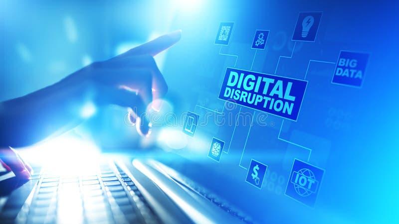 Rupture de Digital Id?es disruptives d'affaires IOT, r?seau, ville fut?e, grandes donn?es, nuage, analytics, service informatique photographie stock libre de droits