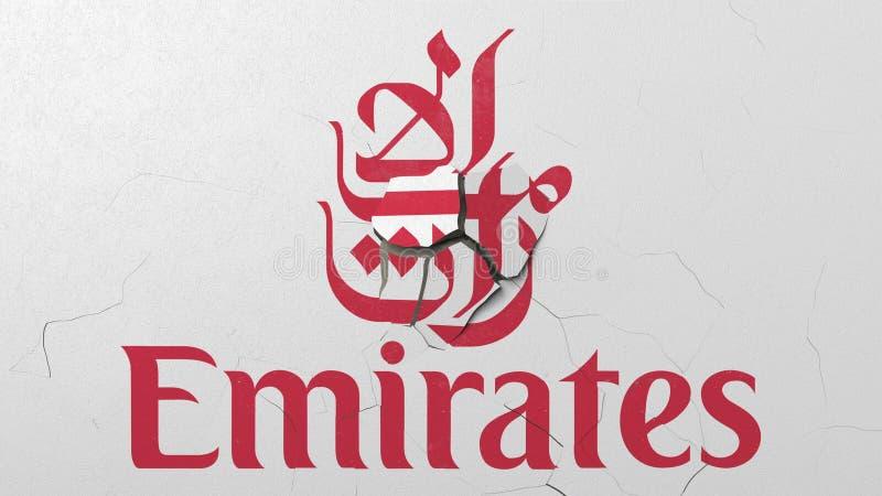 Rupture du mur avec le logo peint d'Emirates Airlines Rendu 3D éditorial conceptuel de crise illustration stock