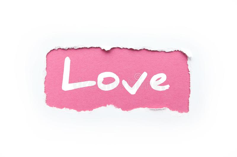 A rupture in a white background with torn edges. The inscription `love` on a pink background. A rupture in a white background with torn edges. The inscription ` royalty free illustration