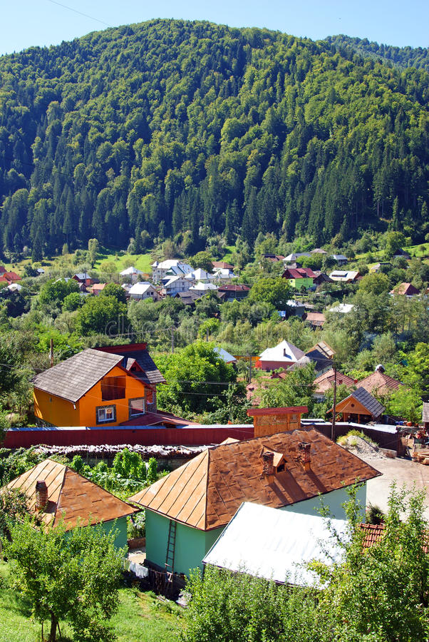 Rural accommodation in mountain village stock photo
