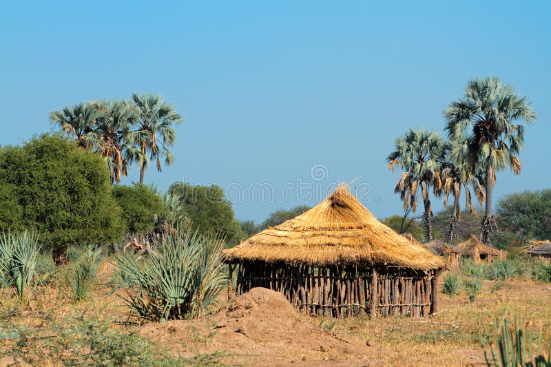 Rural African hut. Traditional rural African wood and thatch hut, Caprivi region, Namibia stock photography