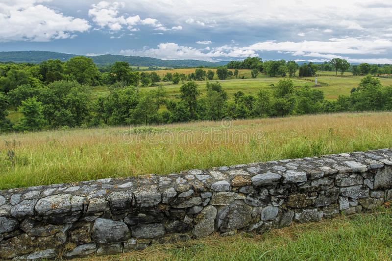 Rural Antietam civil site. The landscape in the countryside of the historic Antietam battlefield in Maryland stock photography
