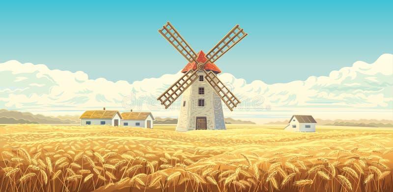 https://thumbs.dreamstime.com/b/rural-autumn-landscape-windmill-houses-wheat-field-130451520.jpg