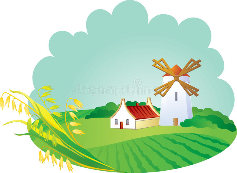 Rural background with windwill and ears stock photography