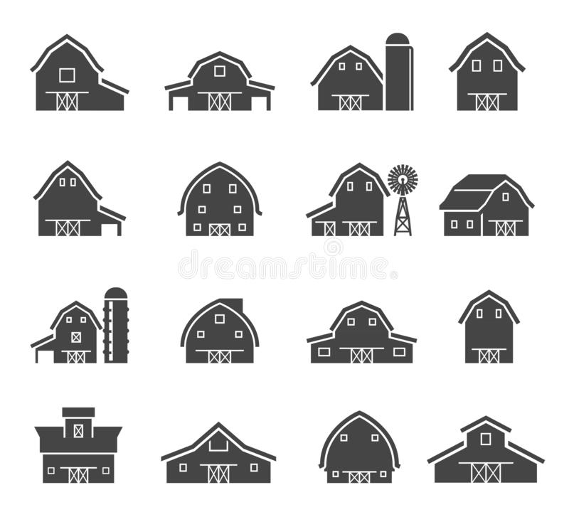 Free Rural Barn Building Silhouettes Glyph Icons Set Royalty Free Stock Photography - 166281557
