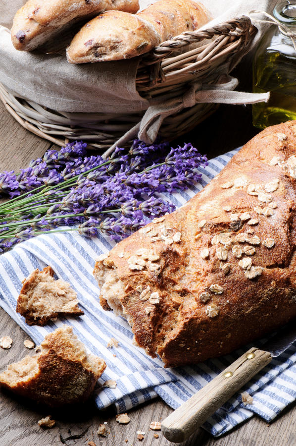Rural breakfast with fresh traditional bread stock photos