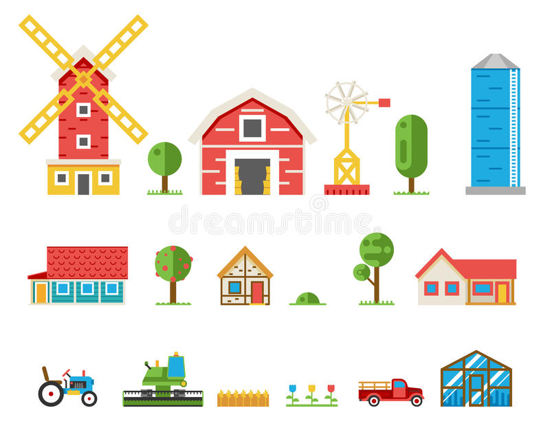 Rural buildings cottages tractor combine pickup. Vector icons set vector illustration vector illustration