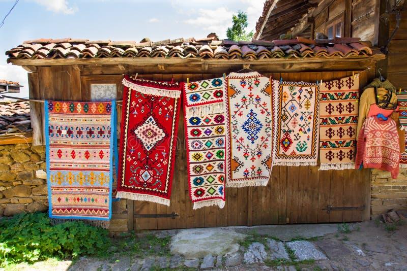 Rural carpet vernissage in Bulgaria royalty free stock photo