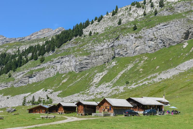 Rural chalets at Engstlenalp over Engelberg on Switzerland. Rural chalets at Engstlenalp over Engelberg on the Swiss alps stock images