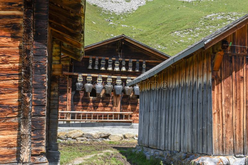 Rural chalets at Engstlenalp over Engelberg on Switzerland. Rural chalets at Engstlenalp over Engelberg on the Swiss alps royalty free stock photos