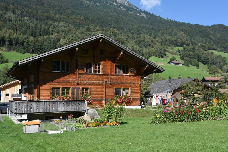 Rural chalets at Wilen on the Swiss alps. Wilen (Interlaken), Switzerland - 24 September 2016: rural chalets at Wilen on the Swiss alps stock photos