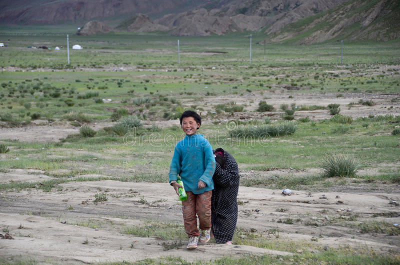 Rural children in Tibet stock photo