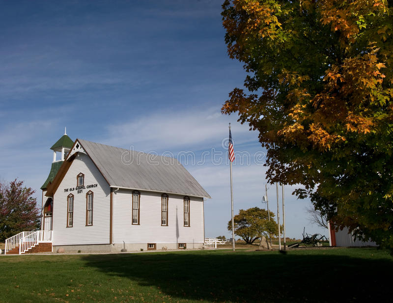 Rural church and fall color royalty free stock photos