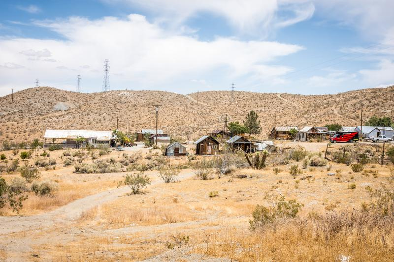 A rural cityscape of the California ghost town of Randsburg, a former gold mining town in royalty free stock images