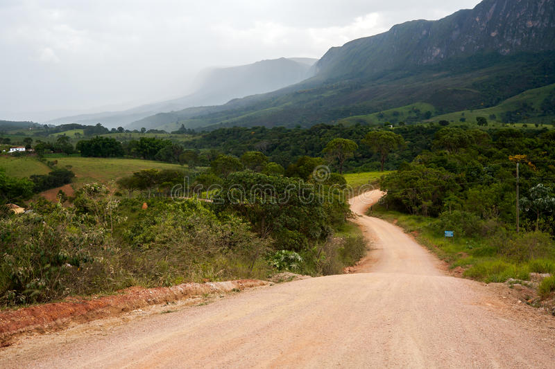 Rural dirt road. With mountain on background royalty free stock image