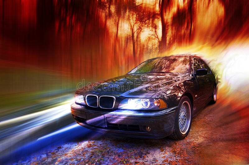 Rural drive. A black sedan sports vehicle drives fast down a leafy rural road. Blur tree background with reflection of trees on car vector illustration