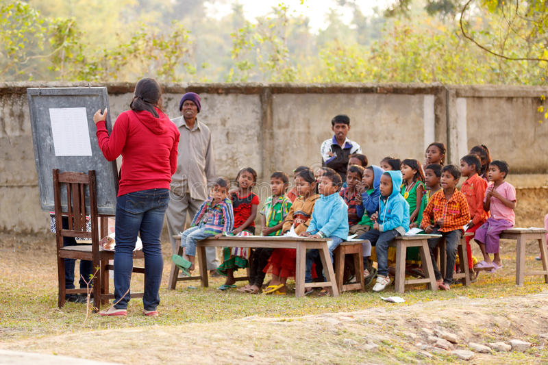 Rural education program, outdoors teaching stock photos