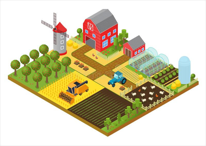 Rural farm 3d isometric template concept with mill, garden park, trees, agricultural vehicles, farmer house and stock illustration