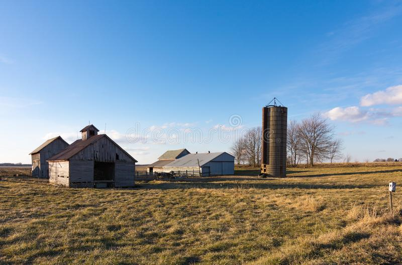 Afternoon in the Midwest. Rural farm in the Midwest. Putnam County, Illinois, USA stock image