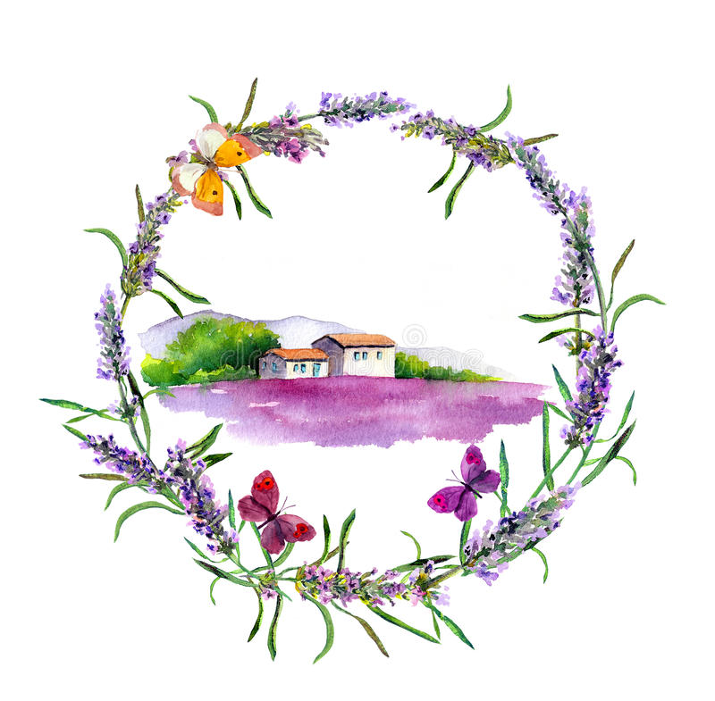 Rural farm - provencal house, lavender flowers field in Provence. Watercolor vector illustration