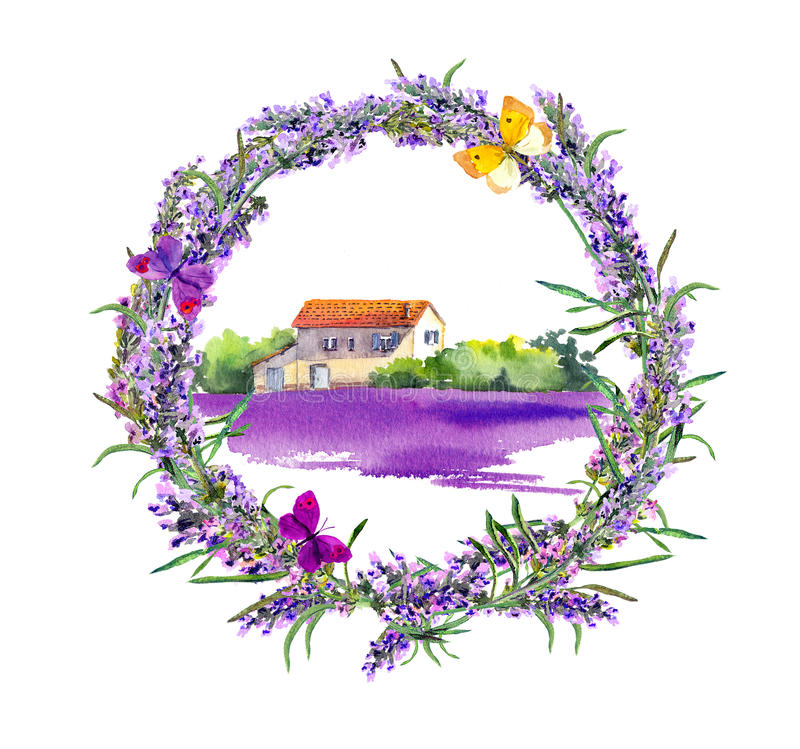 Rural farm - provencal house, lavender flowers field. Watercolor royalty free illustration