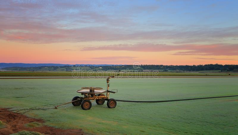 Rural farmlands as dawn breaks royalty free stock photo