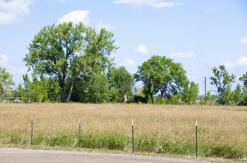Rural Field, Little Fence and Trees. Rural grass field with trees and a mostly hidden house on the edge. There is an interesting stone chimney coming up from the royalty free stock photos