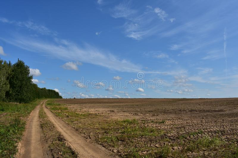 Rural field road along the woods and landscaped land of fresh arable land the Mick stay here royalty free stock photos
