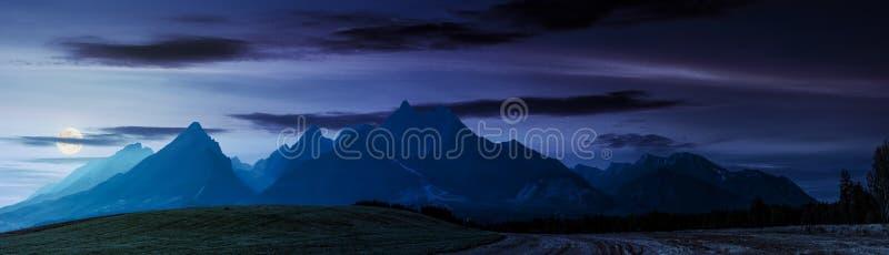 Rural fields near Tatra Mountains at night stock photos