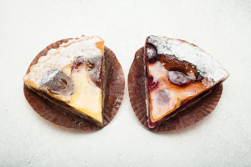 Rural fruit pies on a white background stock image