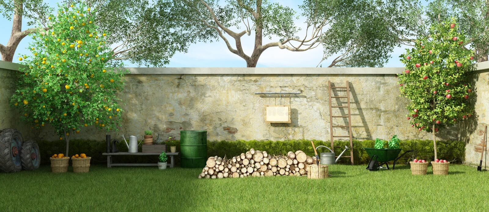 Rural garden in a sunny day. Rural garden with fruit trees and firewood on grass - 3d rendering royalty free illustration