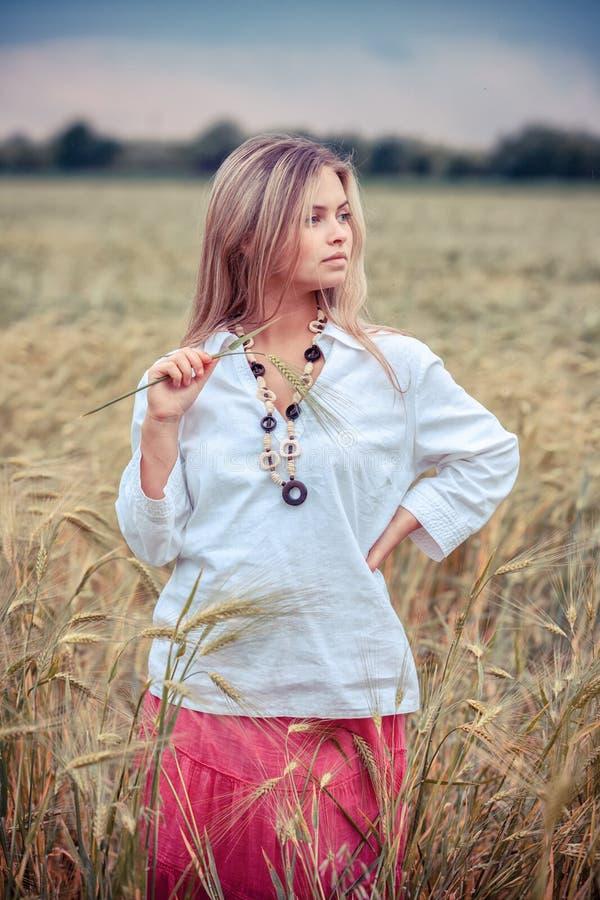 Rural Girl In Field Stock Photos