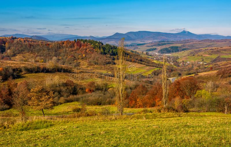 Rural grassy fields on hills in gorgeous mountains stock image