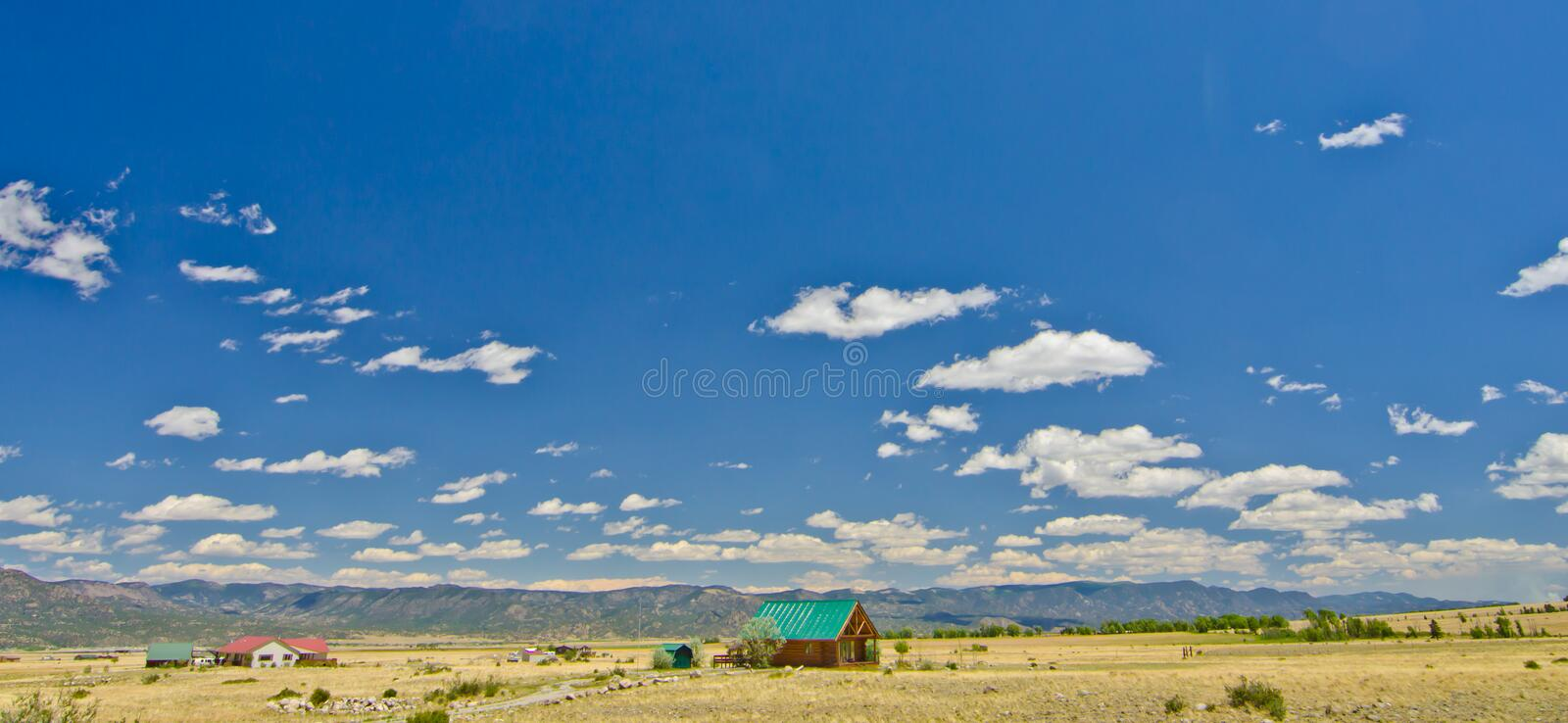 Rural Home in a Prairie on the East Side of the Rocky Mountains in Colorado.  stock image