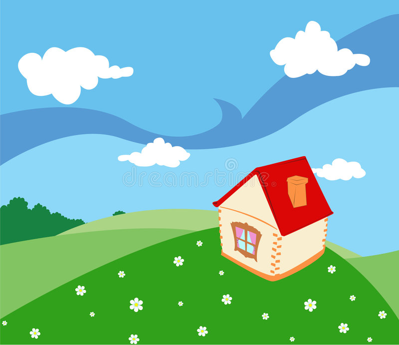 Download Rural house stock vector. Image of meadow, white, field - 5729998