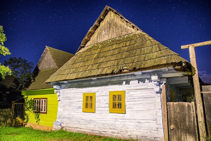 Rural house in night, Slovaia royalty free stock photography