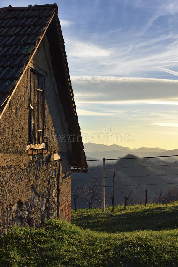 Rural House in Sunset royalty free stock photo