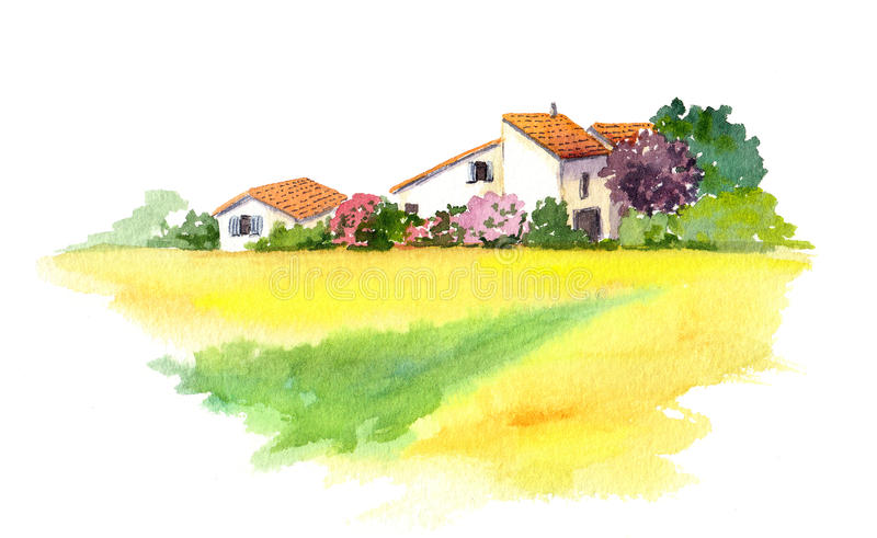 Rural house and yellow field in Provence, France. Watercolor vector illustration