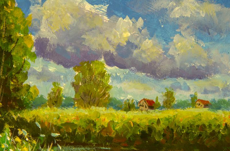 Rural houses with a red roof, large clouds, green trees, grass. Summer rural landscape with acrylic oil canvas. vector illustration