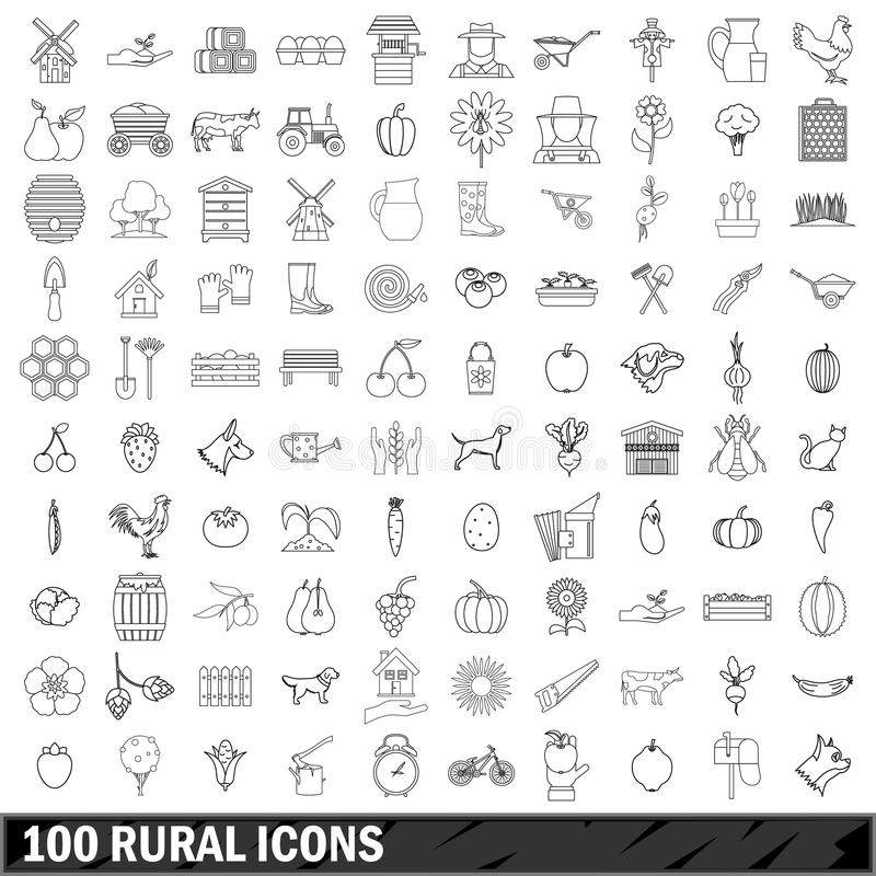 100 rural icons set, outline style stock illustration