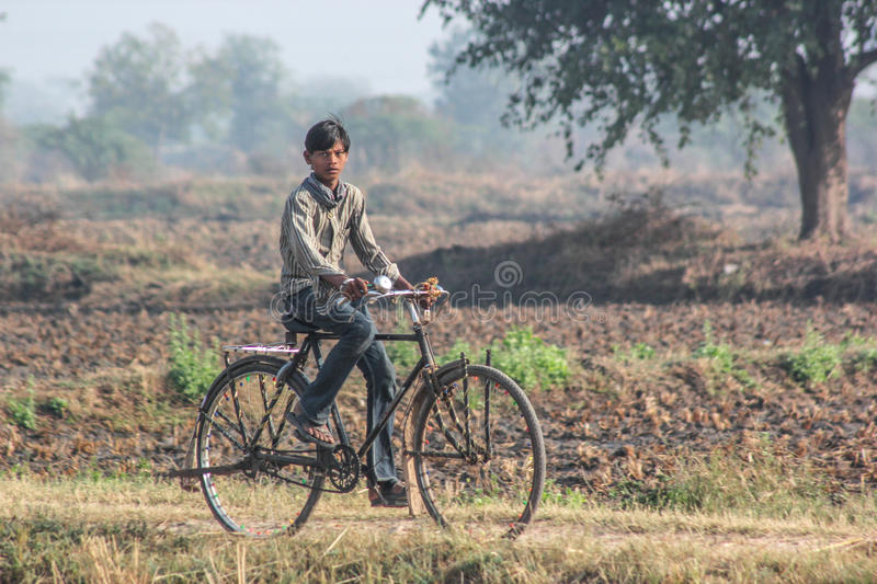 Rural India and bicycles. Bicycles are very popular and cost effective mode of transport of rural India stock images