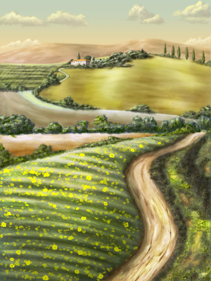 Rural landscape. Farmland in Tuscany, Italy. Original digital illustration vector illustration